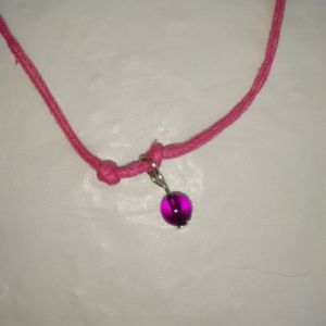 Pink Wax Bracelet/Anklet with Purple Bead